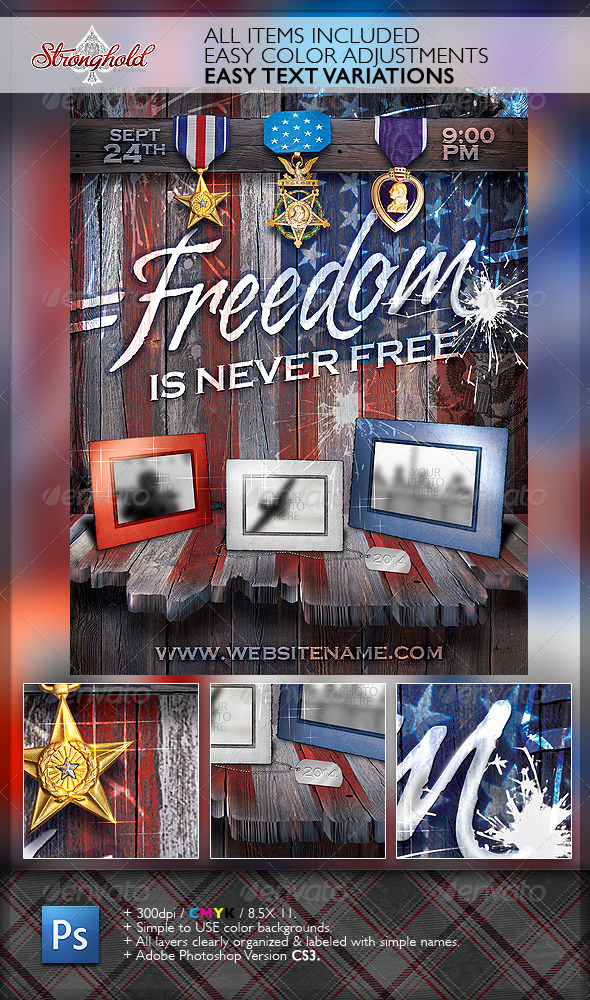 Freedom Memorial Holiday Flyer Template - Flyers Print Templates
