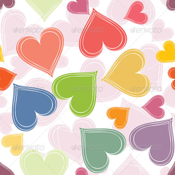 Colorful Paired Hearts Background - Backgrounds Decorative
