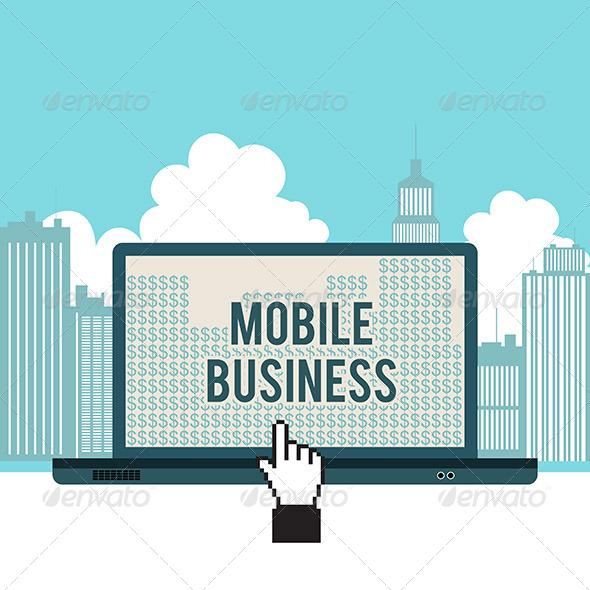 Mobile Business City Laptop Concept - Computers Technology