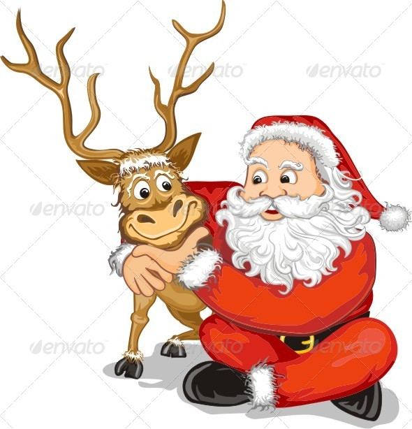 santa claus and reindeer christmas seasonsholidays - Christmas Santa Reindeer