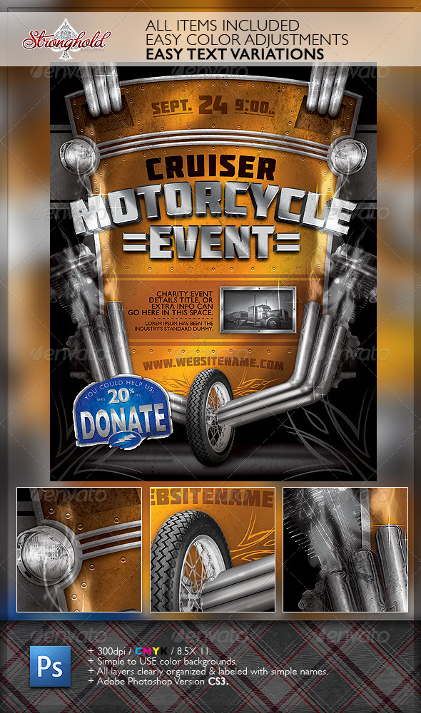 Vintage Motorcycle Event Flyer Template - Events Flyers