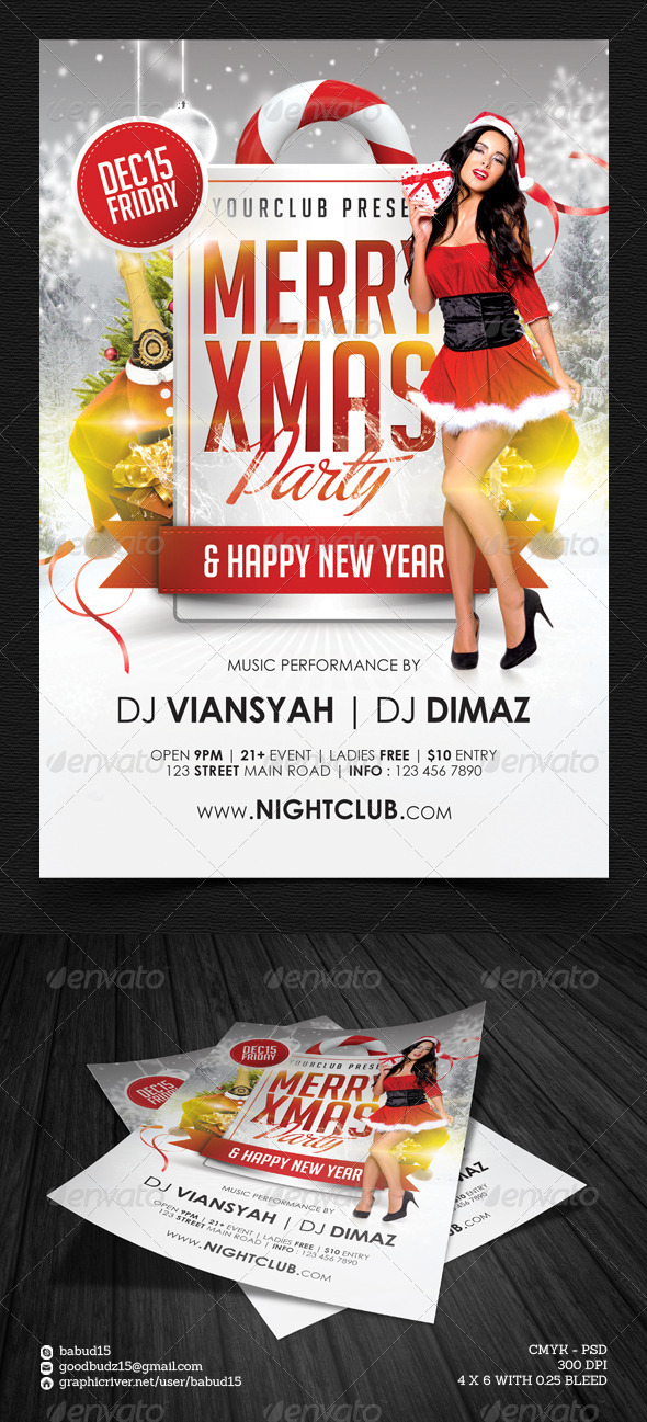 Merry Xmas Party Flyer Template - Events Flyers
