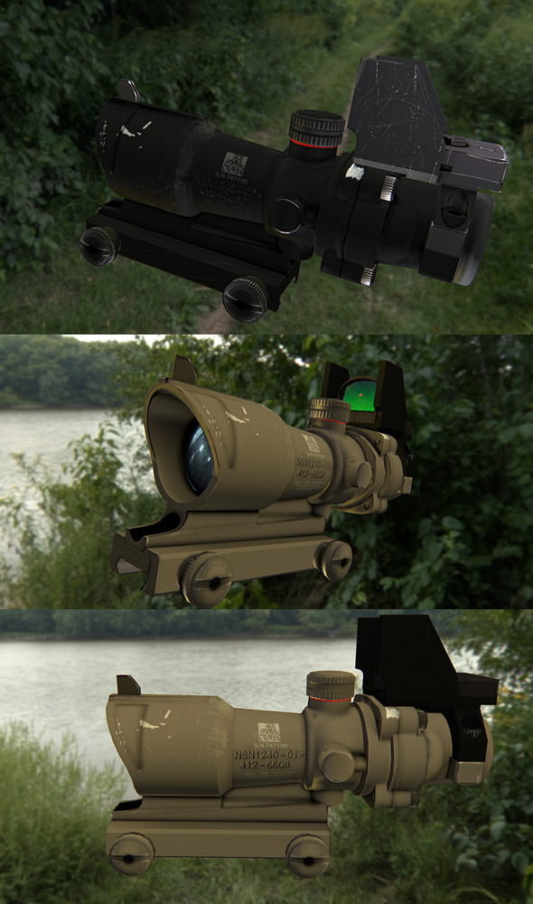 Low poly scope for rifle - 3DOcean Item for Sale