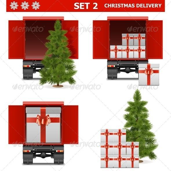 Vector Christmas Delivery Set - Christmas Seasons/Holidays