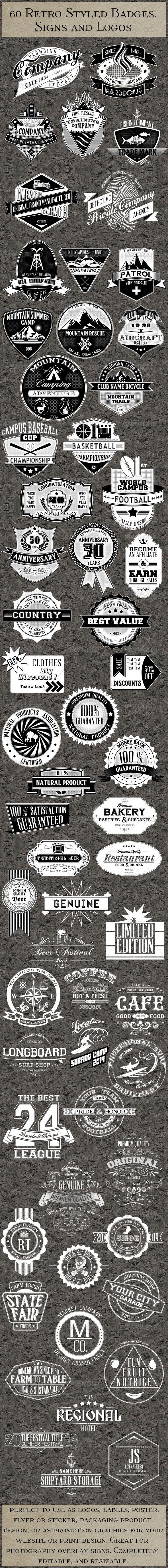60 Retro Badges Logos Insignias - Badges & Stickers Web Elements