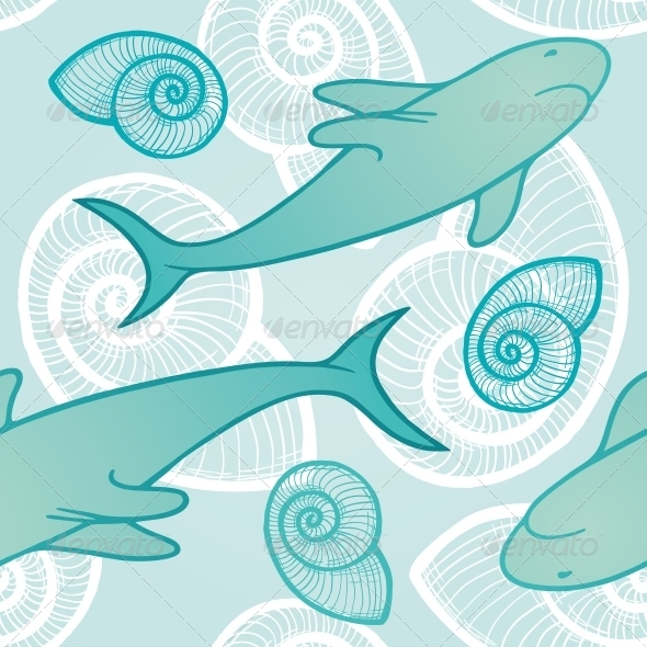 Seamless Background with Sharks - Backgrounds Decorative