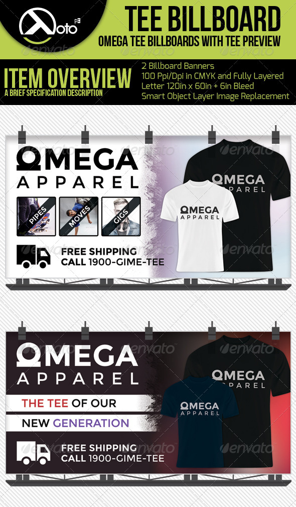 Omega Apparel Billboards With T-shirt Previews - Signage Print Templates