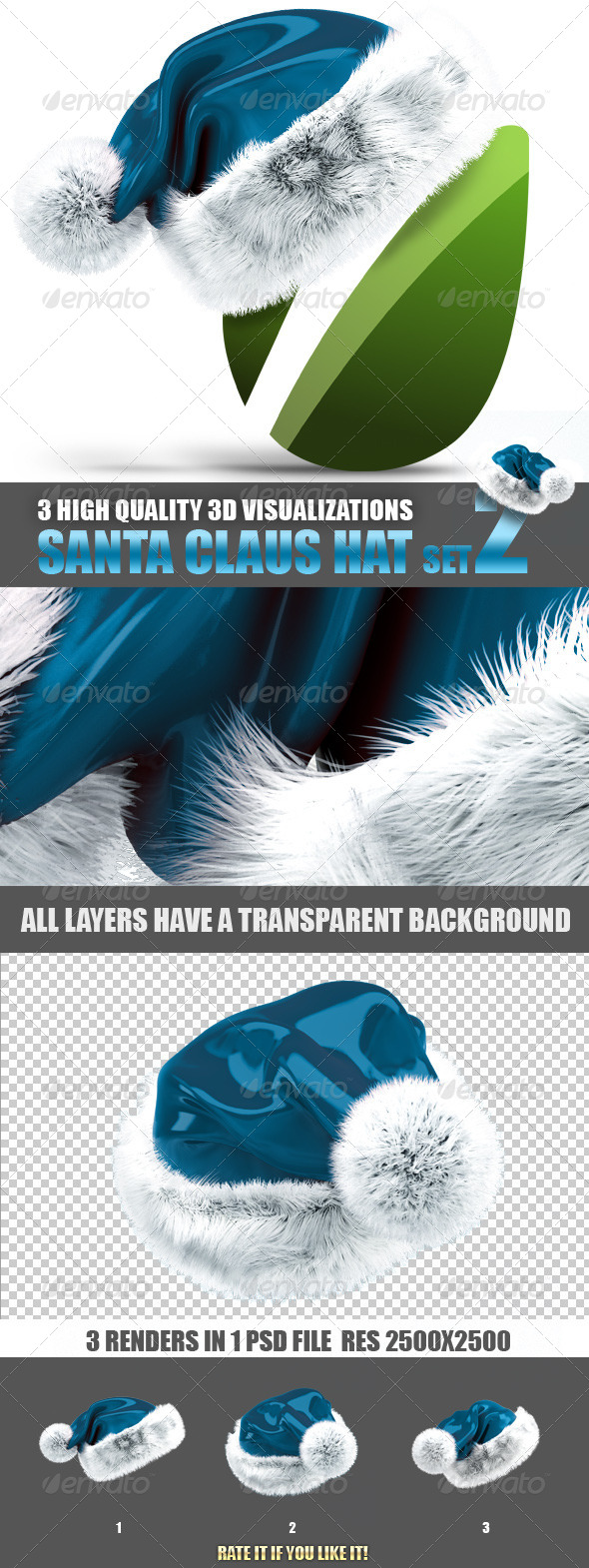 Santa Claus hat - set 2 - Objects 3D Renders