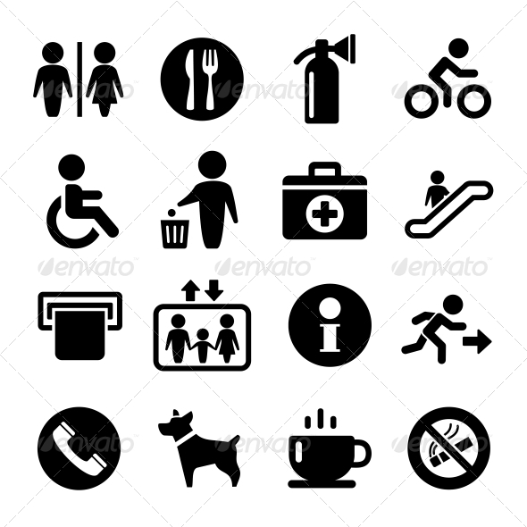 Vector International Service Signs Icon Set - Objects Icons