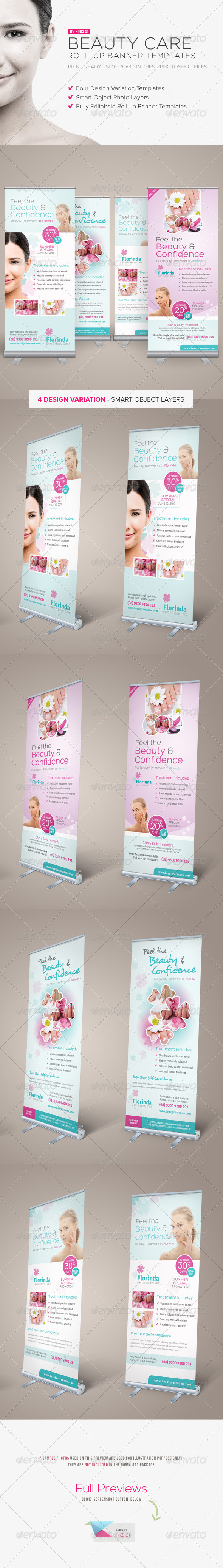 Beauty Care Roll-up Banners - Signage Print Templates
