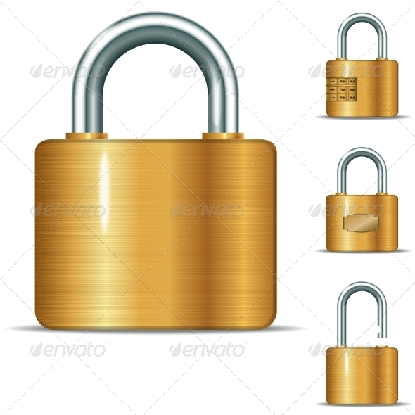 Open and Closed Padlocks - Man-made Objects Objects