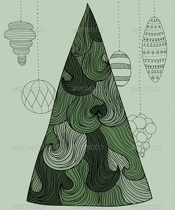 Wavy New Year Tree - New Year Seasons/Holidays