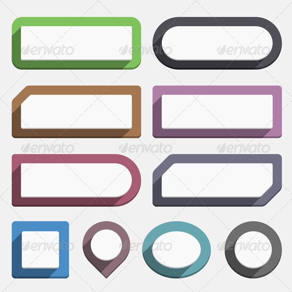 Flat Buttons - Web Elements Vectors