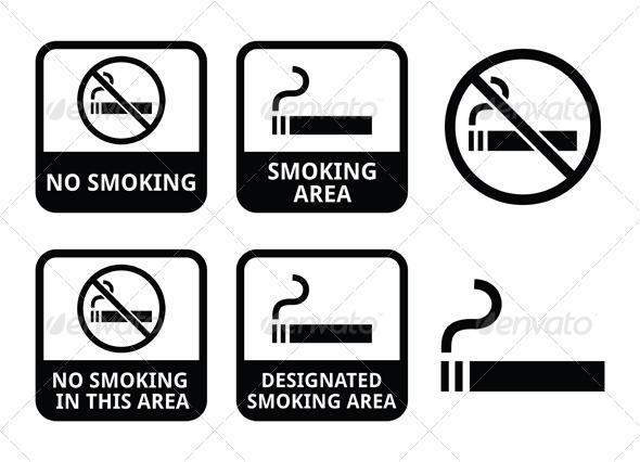 No Smoking Area Icons Set - Health/Medicine Conceptual