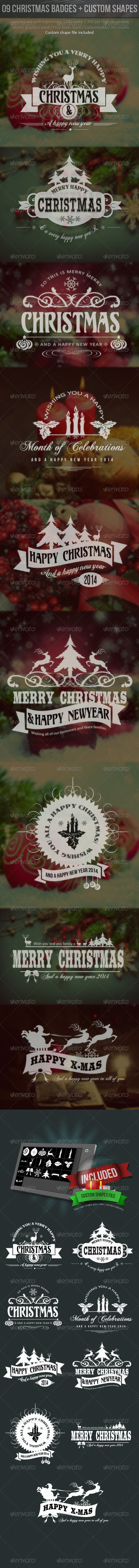 Christmas Labels With Custom Shapes - Badges & Stickers Web Elements