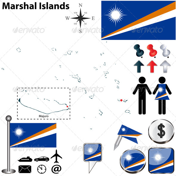 Map of Marshal Islands - Travel Conceptual