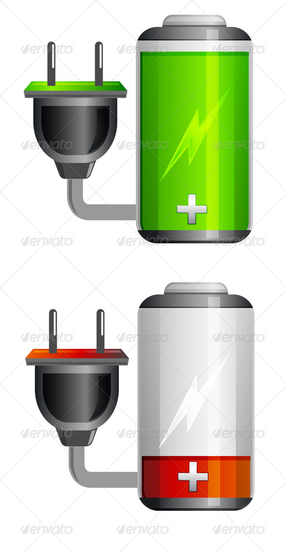 Battery Charging Icon with Plug Illustration - Man-made Objects Objects