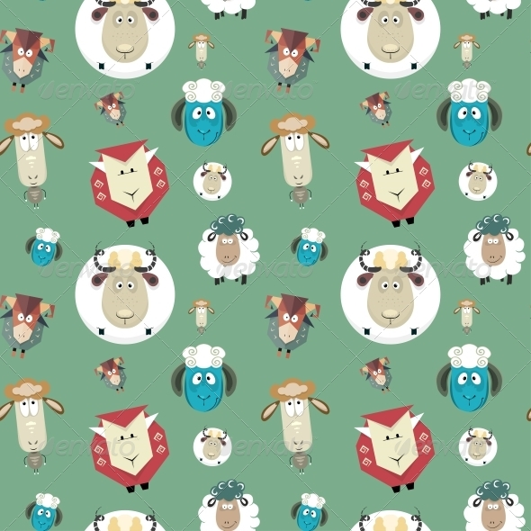 Seamless Pattern of Cartoon Funny Sheeps - Patterns Decorative