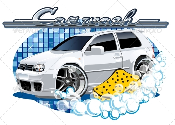 Car Washing Sign with Sponge - Services Commercial / Shopping