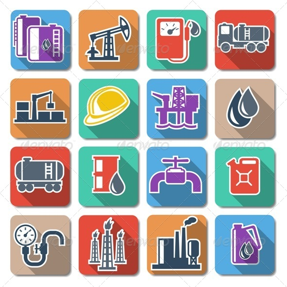 Vector Oil Industry Flat Icons - Industries Business