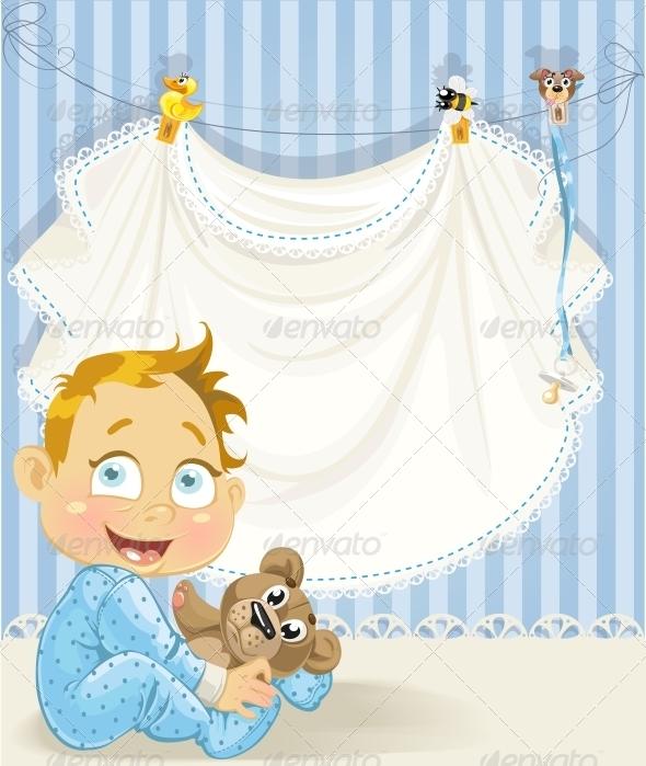 Baby Boy Blue Openwork Announcement Card - Birthdays Seasons/Holidays