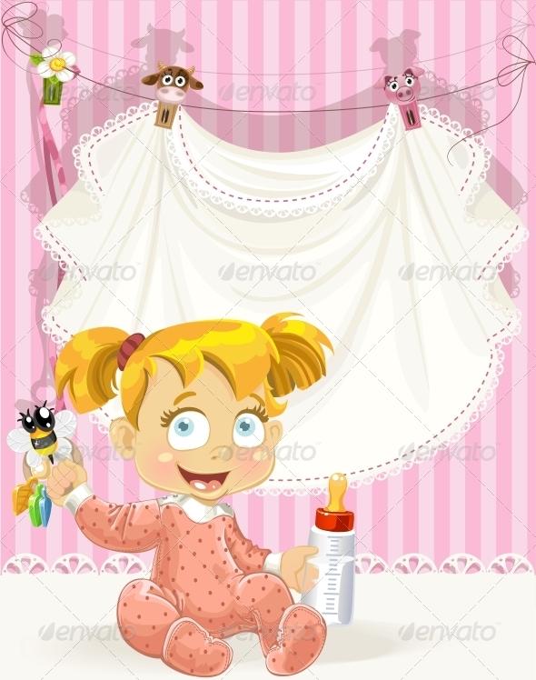 Baby Girl Pink Openwork Announcement Card  - Birthdays Seasons/Holidays