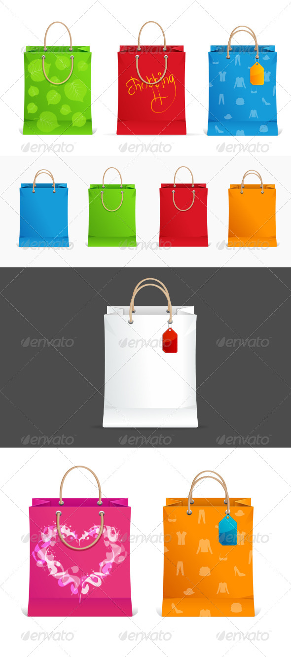 Shopping Bags Colorful Set - Retail Commercial / Shopping