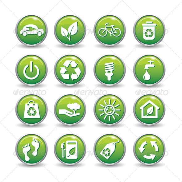 Ecology Web Icons Green Buttons Ecology Icon Set  - Icons