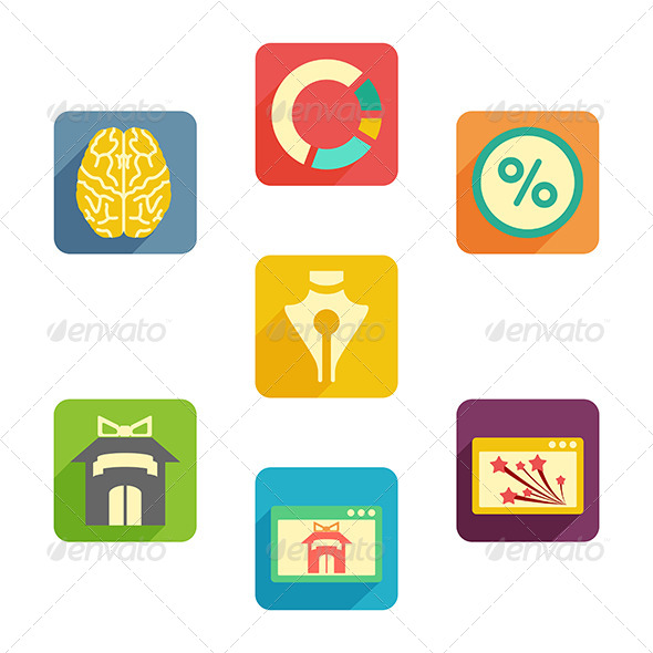 Flat Icons Business - Web Elements Vectors