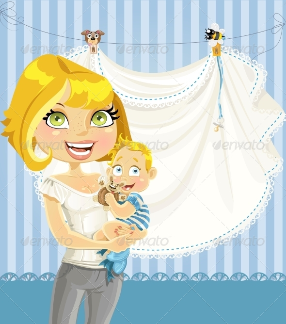 Mom with Baby Boy Blue Openwork Announcement Card - Birthdays Seasons/Holidays