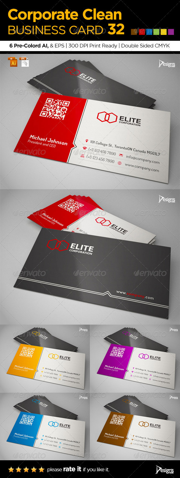 Corporate Clean Business Card 32 - Corporate Business Cards