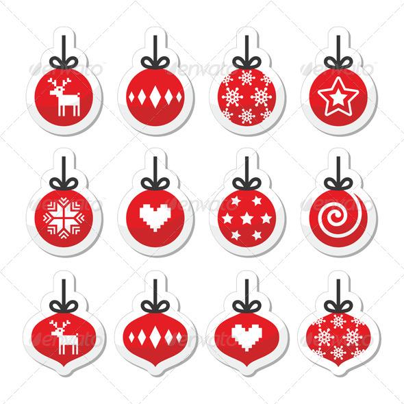 Christmas Ball, Christmas Bauble Vector Red Icons  - Christmas Seasons/Holidays