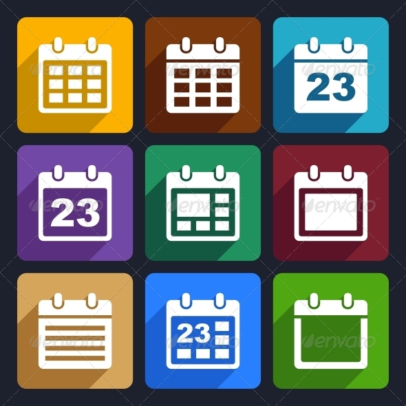 Calendar Flat Icons Set 21 - Web Icons
