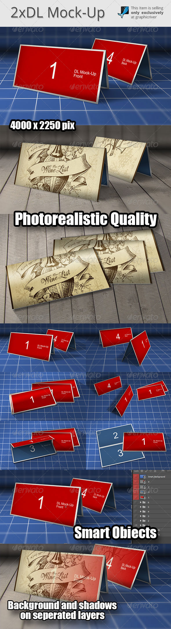 2x DL Mock-Up Photoshop  - Brochures Print