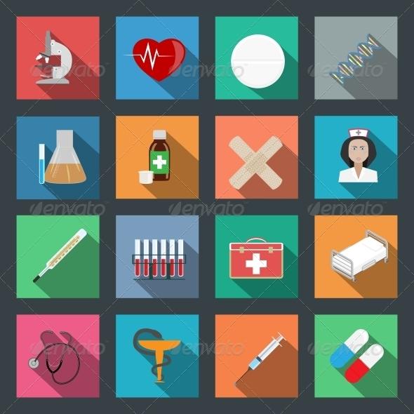 Medicine Flat Icons Set - Health/Medicine Conceptual