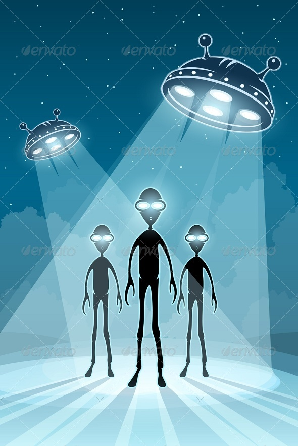 UFO Alien Newcomers and Flying Saucers - Monsters Characters