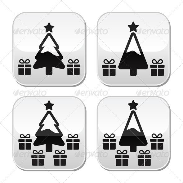 Christmas Tree with Presents Buttons Set - Christmas Seasons/Holidays