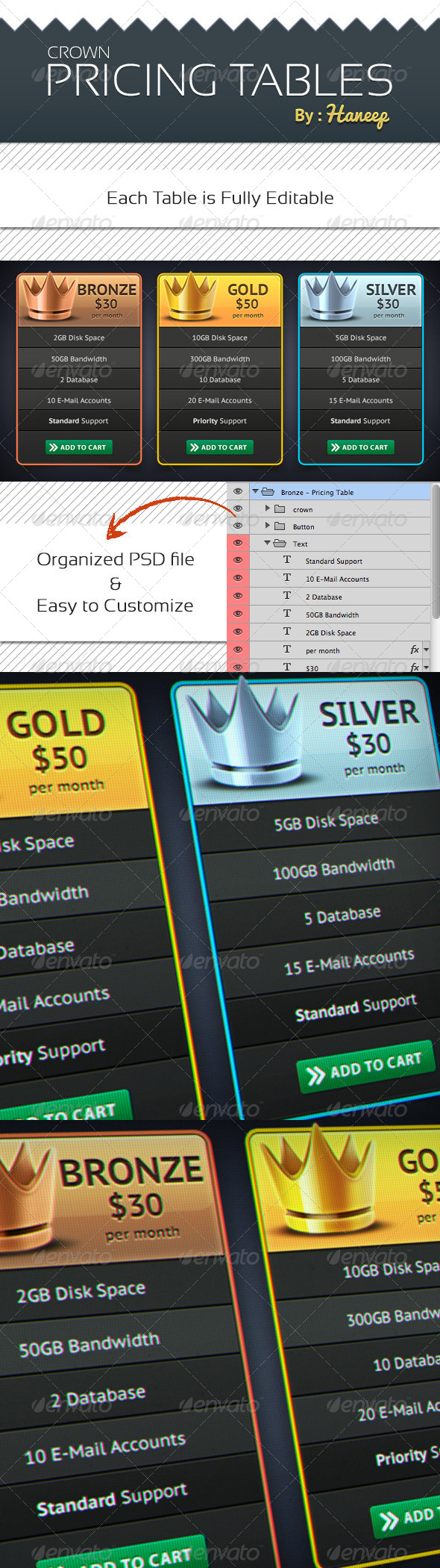 Crown Pricing Tables - Tables Web Elements