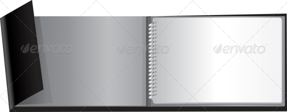 White Blank Notebook on Black Cover - Concepts Business