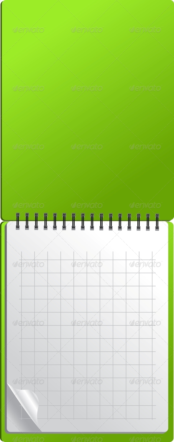 Open Green Notebook with Page Curl - Concepts Business