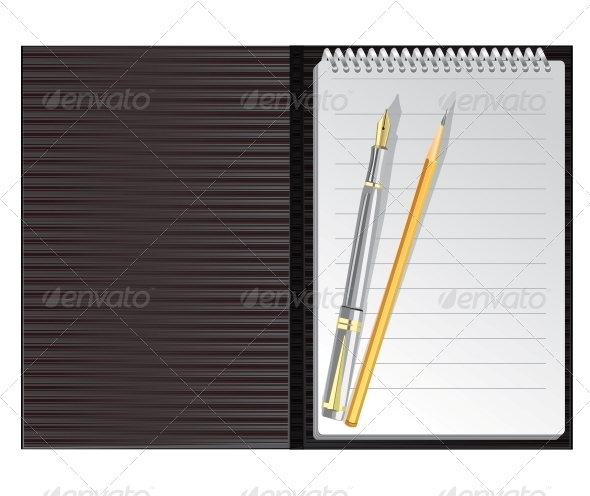Open Black Striped Notebook with Pen and Pencil - Concepts Business