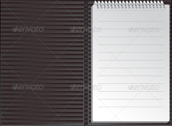 Open Black Striped Notebook in Lines - Concepts Business