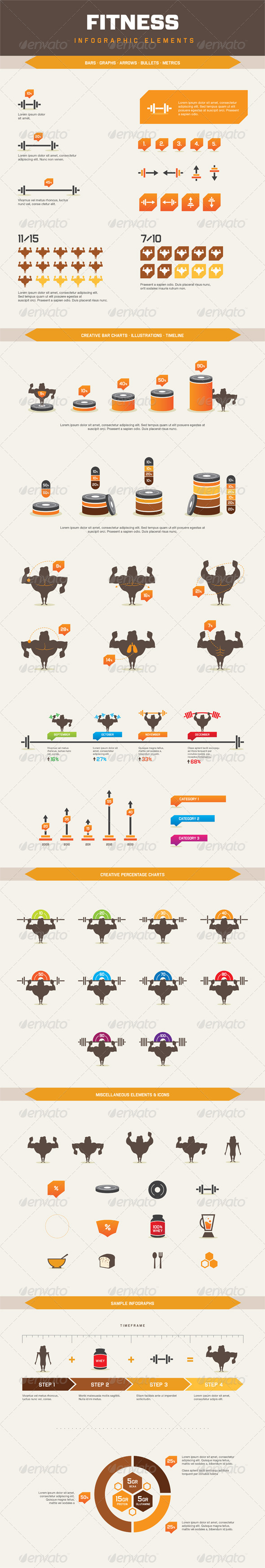 Infographic Elements - Fitness - Infographics