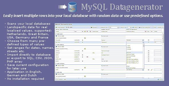 MySQL Datagenerator & import/export - CodeCanyon Item for Sale