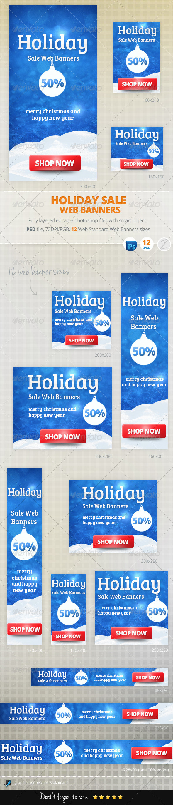 Holiday Sale Web Banners - Banners & Ads Web Elements