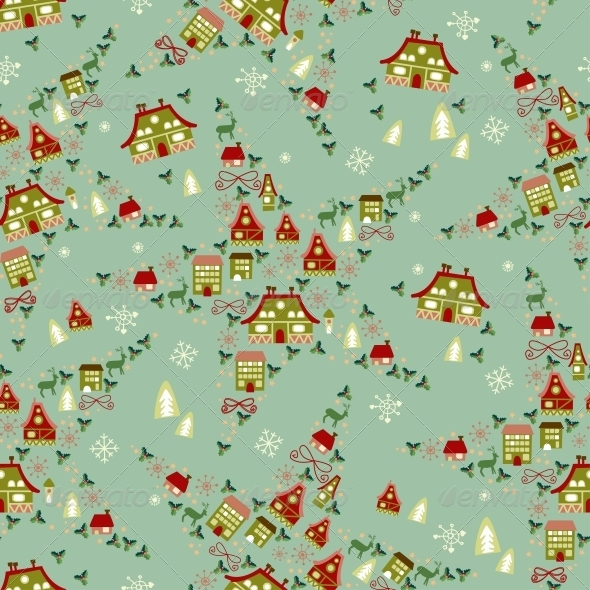 Christmas Seamless with Little Town in Winter - Patterns Decorative