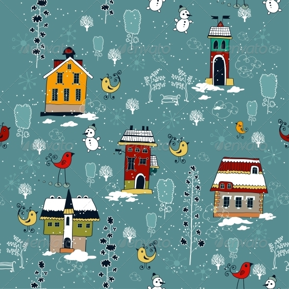 Winter Background with Houses. - Patterns Decorative