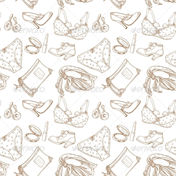 Seamless Pattern of Female Subjects Underwear - Patterns Decorative