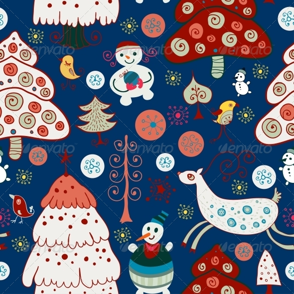 Winter Christmas Forest. Seamless Pattern - Patterns Decorative