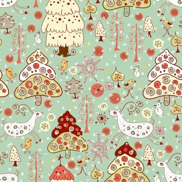 Winter Christmas Forest. Seamless Pattern - Patterns Decorative